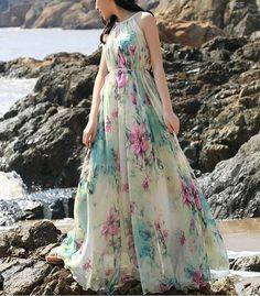 Summer Floral Long Beach Maxi Dress Lightweight by LYDRESS on Etsy