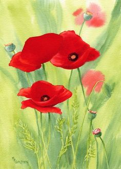 Poppies 2 giclée print by Mary Ellen Golden (maryellengolden @ArtFire)