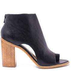 Loeffler Randall Black Gigi Open-Toe Leather Ankle Booties ($525) ❤ liked on Polyvore featuring shoes, boots, ankle booties, open toe boots, leather ankle booties, open toe booties and chukka boots