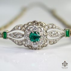 Antique Edwardian 18k Gold Diamond & Emerald Bracelet