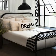 Love this black and white bedding (by Diane Keaton....love it even more now).  Could be perfect for our room.