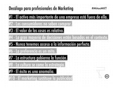 Mitos del Marketing 2: Decálogo para profesionales de marketing. Por @Fernando Berlanda De La Rosa
