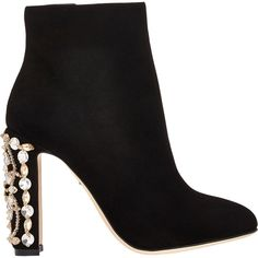 2710944aeab Dolce & Gabbana Embellished-Heel Ankle Boots ($1,545) found on Polyvore  featuring shoes