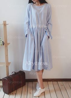Dress - $24.18 - Cotton Solid Long Sleeve Knee-Length Casual Dresses (1955129673)