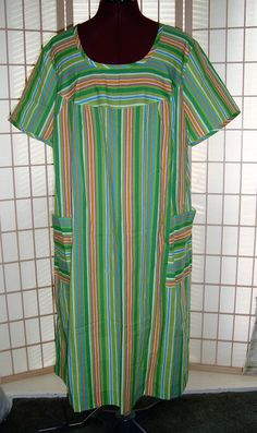 Nice Sz A8 L Green Multi Color Striped Duster House Dress W/ Cap Sleeves #Unbranded #Shift