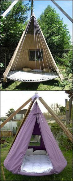 What to do when your trampoline is wrecked beyond repair?  The best solution is to turn it into a circular swing bed!  Would you like to hangout here?