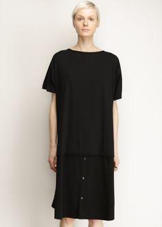 Totokaelo - Y's by Yohji Yamamoto Black T-shirt Button Up Dress