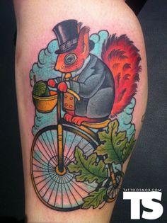 Bike riding gentleman squirrel tattoo by Annie Frenzel