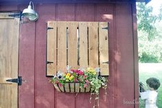 to cover up the chicken windows in the winter - but still provide some light & ventiliation Pallet Wood Barn Windows Barn Makeover | Beneath My Heart