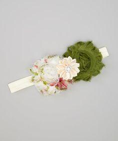 This Ivory & Green Flower Garden Headband is perfect! #zulilyfinds
