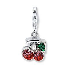 Cherry Charm Swarovski Elements Sterling Silver