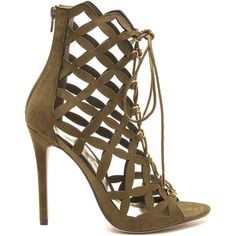 dd833d1af93d Lattice Know Faux Suede Lace-Up Heels (£34) ❤ liked on Polyvore