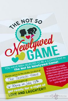 Not So Newlywed Game Free Printable invitation..fun way to get friends together.