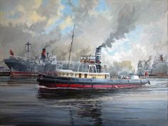 A painting of the DANIEL ADAMSON as she used to be in her early days at work on the Manchester Ship Canal. She's in the turning basin at the start of No.9 dock which is now where the Lowry centre is located. The ship was built in 1903 and has now been restored by much endeavour and hard work by a group of restoration people, included in that is the months of great effort by Cammell Laird's shipyard and Engineers