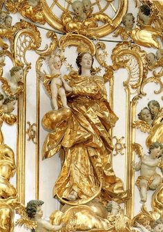 A rococo sculpture of Mary as the woman of the Apocalypse in the Alte Kapelle in Regensburg, Germany.