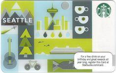 Seattle Starbucks Card - Closer Look! Starbucks Rewards, Starbucks Gift Card, Visa Gift Card, Gift Cards, Starbucks Seattle, Employees Card, Coffee Cards, Printed Matter, Layout Design