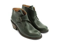 "John Fluevog Shoes: Adriana - Chapot in Dark Green. ""Featuring a men's swing toe last, rubber soles, and 2"" leather- wrapped heels, With smooth, shiny Bottero leathers and an adjustable buckle, The Chapot booties are the fusion of retro and hip. Drawn as an equestrian-inspired prep school boot, The Chapot is named after the hall-of-fame show jumping family that have set the high mark of class and professionalism in equestrian sporting for over 50 years."""