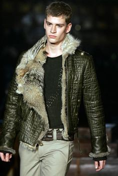Fur lined green leather jacket