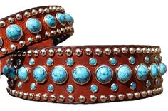 Jumbo Turquoise Leather Dog Collar - CollarsCollars.com