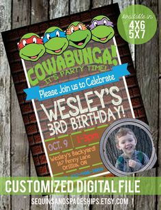 Throwing a TMNT party?? Start the celebrations off with this fun invite featuring the Turtles and your Birthday Star! This printable design will be customized with all of your party details and sent to you in high resolution via email for you to have printed and/or to share on social medias! >>>> HOW THIS WORKS! <<<< 1. Add any products that you would like from my shop into your 'cart' and when you are done, Go to the Checkout. 2. Before paying, you will see 'Notes to the Store'. This is…