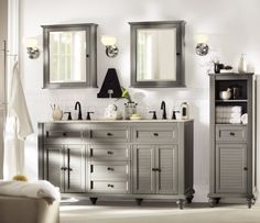 upstairs bathroom Home Decorators Collection Hamilton 61 in. Double Vanity in Grey with Granite Vanity Top in - The Home Depot Bathroom Sink Units, Bathroom Mirror Cabinet, Mirror Cabinets, Bathroom Mirrors, Upstairs Bathrooms, Grey Bathrooms, Master Bathroom, Master Closet, Double Bath