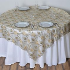 x Champagne Lace Netting Extravagant Fashionista Style Table Overlay Champagne Wedding Decorations, Table Overlays, Burlap Lace, Lace Table, Lace Print, Satin Flowers, Table Flowers, Lace Overlay, Table Linens