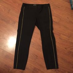 Express Columnist Pants Size 6 Never worn skinny legged trousers, these have a metallic gold stripe down the side of each leg  . Express Pants