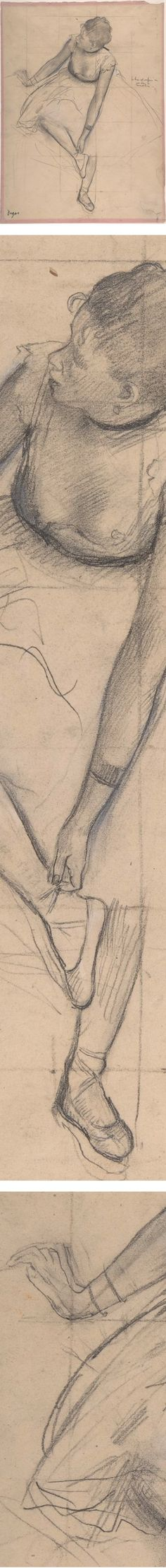 Dancer Adjusting her Slipper, Edgar Degas, pencil drawing- artists using grid method transfer