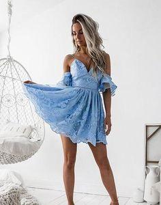 Off Shoulder Cute Light Blue Prom Dress, Mini