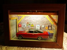Mini garage diorama from IKEA RIBBA frames