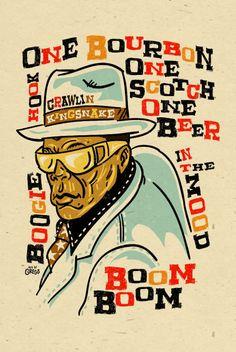 John Lee Hooker Poster- signed by Grego - digital - blues folk art - big 12 - John Lee Hooker, Jazz Poster, Blue Poster, Blues Rock, Rock Posters, Concert Posters, Band Posters, Blues Artists, Jazz Blues