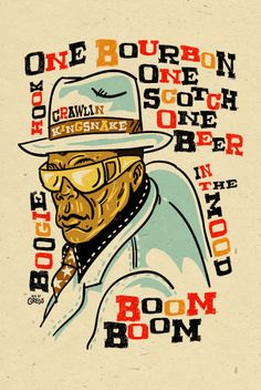 "DIY...Framed Music Art...John Lee Hooker Poster- signed by Grego - digital - blues folk art - big 12""x18"" - mojohand.com"