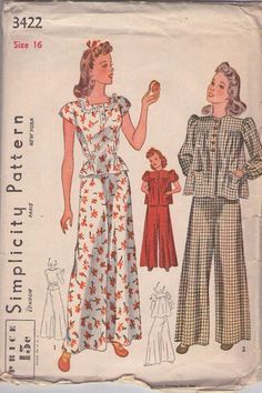 Pajamas Pattern Wide Leg Palazzo Trousers and Blouse Vintage Sewing Pattern Simplicity 3422 Size 12 Bust 30 Sewing Patterns Girls, Vintage Dress Patterns, Simplicity Sewing Patterns, Blouse Vintage, Vintage Dresses, Vintage Outfits, Vintage Fashion, Retro Fashion, Vintage Nightgown