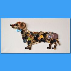 Dachshund Dog Button Art on stretched canvas over wood by vitbich, $40.00