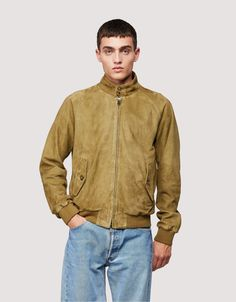 The G9 Harrington Jacket- Men   Baracuta - G9 Suede Army Harrington Jacket, Soft Suede, Bomber Jacket, Jacket Men, Deep Blue, Tartan, Spring Outfits, Knitwear, Army
