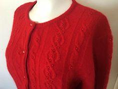 Xmas Red Lambswool Sweater Angora Rabbit Cardigan Holiday Party Medium Gift NWT #EssentialElements #Cardigan