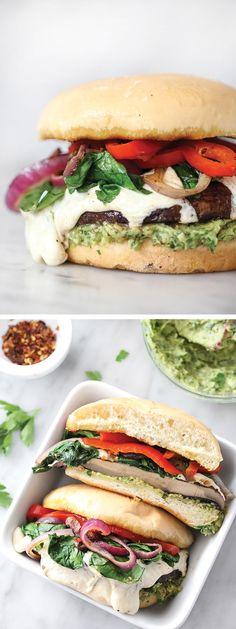 An avocado chimichurri in place of mayo flavors this Portobello Mushroom Burger with Smoked Mozzarella | foodiecrush.com