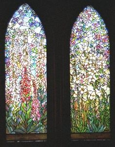 Tiffany windows at  St. Mary's by-the-sea Episcopal Church. I believe this is the finished version of the watercolor at the metropolitan museum. Foxglove: The famous Louis C. Tiffany windows given in 1922 by Cyrus H. McCormick in memory of his wife Harriet. Married at St. Mary's in 1889, the McCormicks, of the great McCormick farm machinery fortune, were generous benefactors of the church all of their lives.