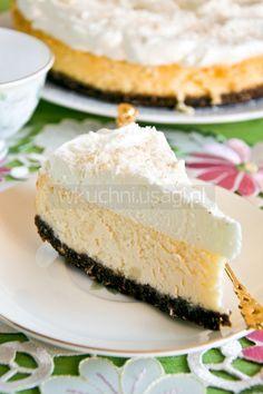 mascarpone and ricotta cheesecake Sernik kokosowy, mascarpone, ricotta Ricotta Cheesecake, Cheesecake Recipes, Dessert Recipes, Polish Desserts, Recipes From Heaven, Homemade Cakes, Cheesecakes, Vanilla Cake, Sweet Recipes