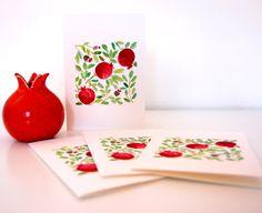 Pomegranates greeting cards Rosh hashanah Shanah by TheJoyofColor