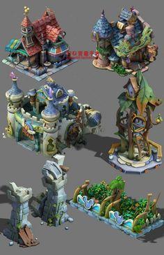 游戏美术资源全套Q版建筑植物高模3渲2场...