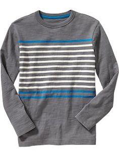 Boys Slub-Knit Chest-Stripe Tees