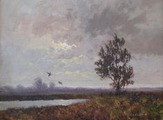 "Sale D160415 Lot 326  Gerald Coulson (British 20th Century) - A landscape with ducks taking flight, signed lower right ""Coulson"", oil on canvas, 29 x 39 cm  - Cheffins"