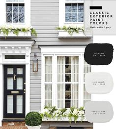 37 Ideas For Exterior House Paint Color Combinations Farmhouse Grey - Farmhouse Decoration Reforma Exterior, Café Exterior, Exterior Gray Paint, White Exterior Houses, Design Exterior, Exterior Paint Colors For House, Cottage Exterior, Exterior Remodel, Paint Colors For Home