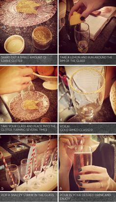 Gold glitter glass rim tutorial