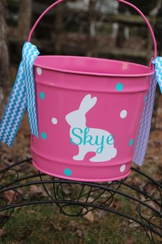 Custom Made Easter Basket Metal Pail Monogram Personalized with Bunny and Name on Etsy, $25.00