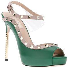VALENTINO studded stlletto heel sandal ($935) ❤ liked on Polyvore