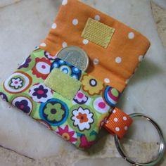 Pochette pour jeton de caddie/porte-clés en tissu fleuri vert et orange