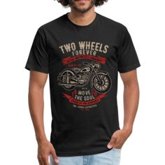 Two Wheels Forever - Fitted Cotton/Poly T-Shirt by Next Level – Affinity Home Vibes Fabric Weights, Wheels, Fitness, Sports, Cotton, Mens Tops, T Shirt, How To Wear, Fashion