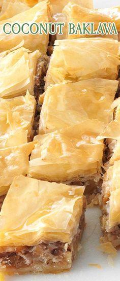 Coconut Baklava. #CompleteRecipes #recipe #recipes #food #foodgasm #cleaneating #healthyfood #healthy #healthyrecipes